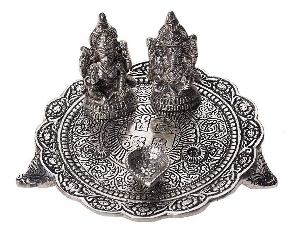RCI Handicraft White Metal Laxmi Ganesh Pooja Thali Silver Plated