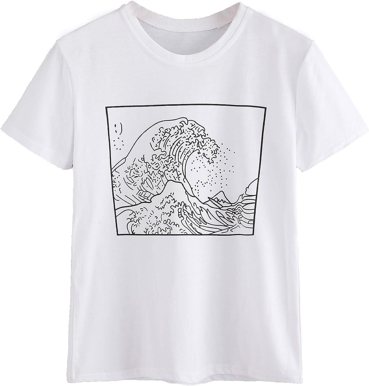 Romwe Womens Short Sleeve Top Casual The Great Wave Off Kanagawa Graphic Print Tee Shirt