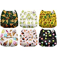 Mama Koala One Size Baby Washable Reusable Pocket Cloth Diapers, 6 Pack with 6 One Size Microfiber Inserts (Yummy)
