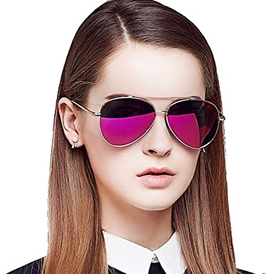 3b7ae0018e6 BLUEKIKI YEUX Aviator Women Sunglasses Polarized Fashion Metal Frame  Design(Barbie pink)…