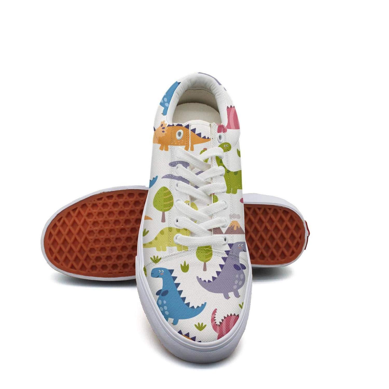 Ouxioaz Womens Skateboard Shoes Colorful Dinosaur Summer Charm Shoe lace up