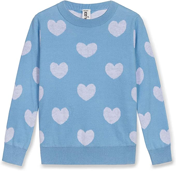 Kid Nation Girls Sweater Short Sleeve Round Neck Cotton Pullover with Love Easter Rabbit