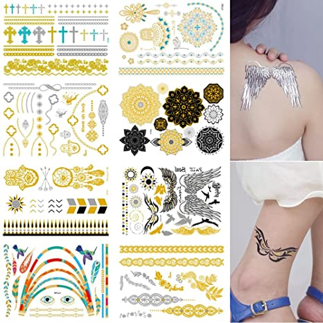 Amazon Com Fashion Temporary Tattoos 8 Sheets Removable Waterproof