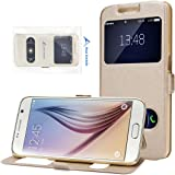"""Galaxy S6 Flip Case, Galaxy S6 Leather Cover Case, Rosa Schleife® Premium PU Leather Multi Function Flip Holster Folio Bookstyle Case Cover with Phone Stand View Window Function Magnetic Snap Pattern Protective Shell Skin Cases Covers for Samsung Galaxy S6 (5.1"""") - Champagne Gold"""