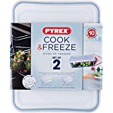Pyrex Cook and Freeze Rectangular Glass Dish Set with BPA-Free Plastic lids (4-Piece Set), 1.5L & 2.6L