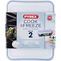Pyrex Cook and Freeze Rectangular Glass Dish Set with BPA-Free Plastic lids (Set of 2), 1.5L & 2.6L
