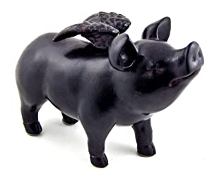Bellaa 26096 Whimsical Flying Pig Statue 5 Inch Tall