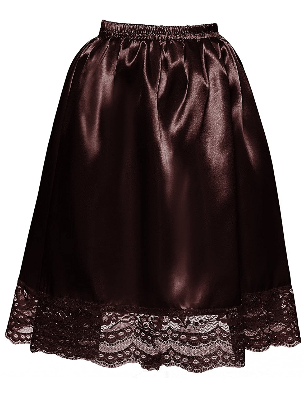 DYSS Women Satin Half Slip Underskirt Elasticated A-Line Short Skirt with Lace Hem Underwear