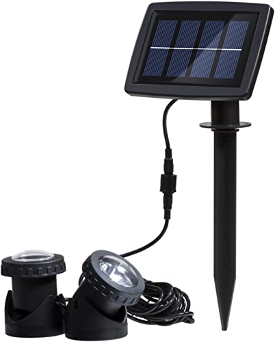 Solar Power 12 LEDs Landscape Spotlight Projection Light with 2 Submersible Lamps for Garden Pool Pond Outdoor Decoration Lighting Underwater Light, Blue