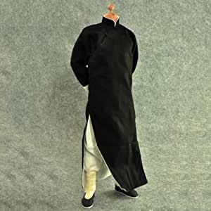 1//6 Black Robe Costume Yip Man Kung Fu Bruce Lee Suit for enterbay Hot toys