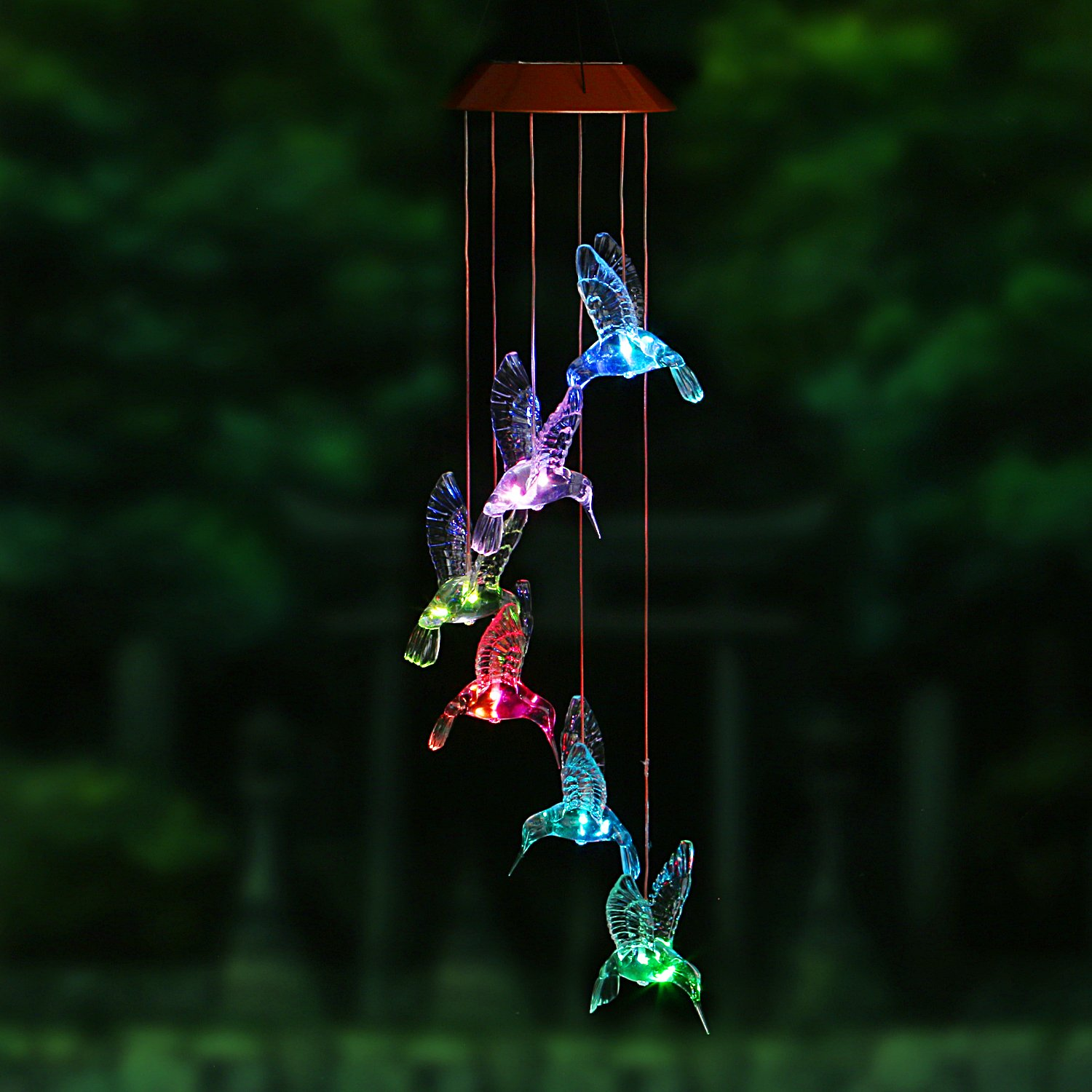 ZONYEO Changing Color Hummingbird Wind Chime, Spiral Spinner Windchime Portable Outdoor Decorative Romantic Windbell Light for Patio, Deck, Yard, Garden, Home, Pathway
