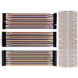 Zacro Breadboard Carte d'Expérimentation 830 Points sans Soudure et 3 en 1 40P 20cm Dupont Wire Jumper Cable 2.54 1P-1P mâle-mâle /femelle-femelle/femelle-mâle(multicolor)