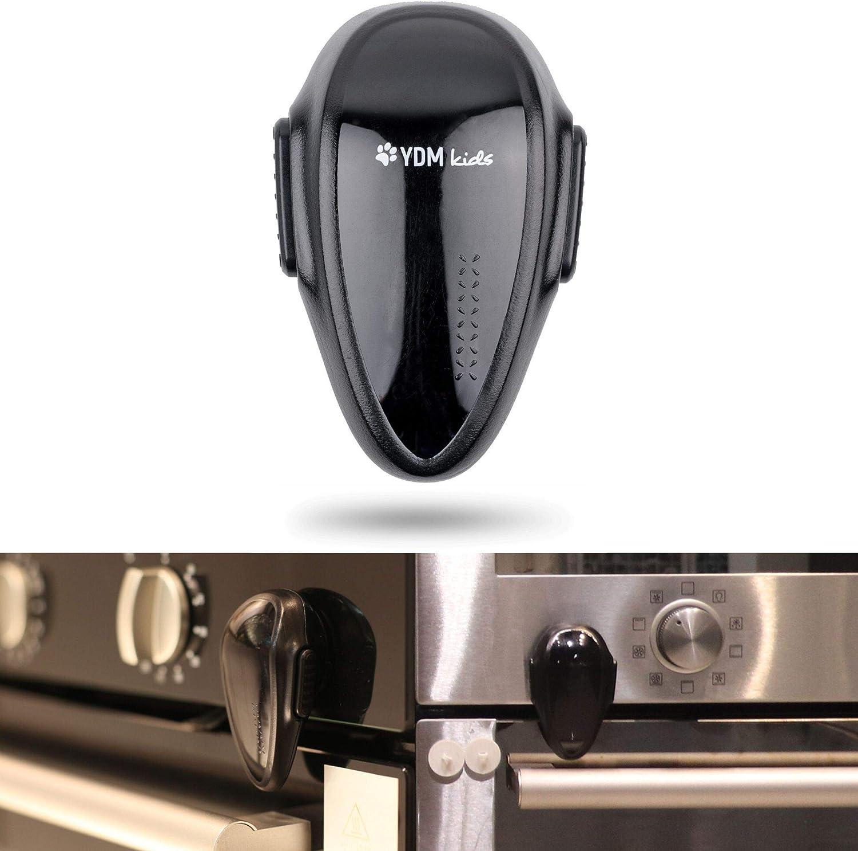 Cerraduras de seguridad a prueba de niños, Bloqueo de Seguridad para horno, adhesivo 3M, resistentes al calor, Diseño de doble botón, adecuado para lavadora, lavavajillas y microondas, Negro