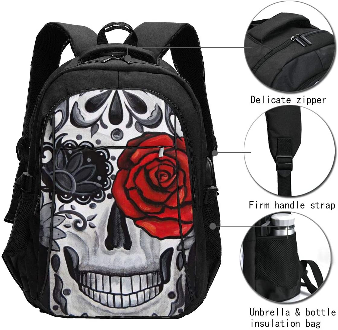 Skull Rose Travel Laptop Backpack with USB Charging Port Extra Large Durable School Backpack College Bookbag Fit 16 Inch Laptops Casual Daypack for Business Hiking