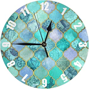 Cool Jade Wall Clock Round Silent Non Ticking 10 Inch Silent Non Ticking Battery Operated for Living Room Kitchen