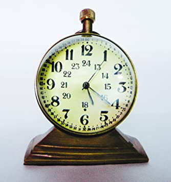 VA Antique Clock Metal Body Trophy Stand with Metallic Copper Color and Spherical Lens Glass, Dial Size 5 cm Diameter