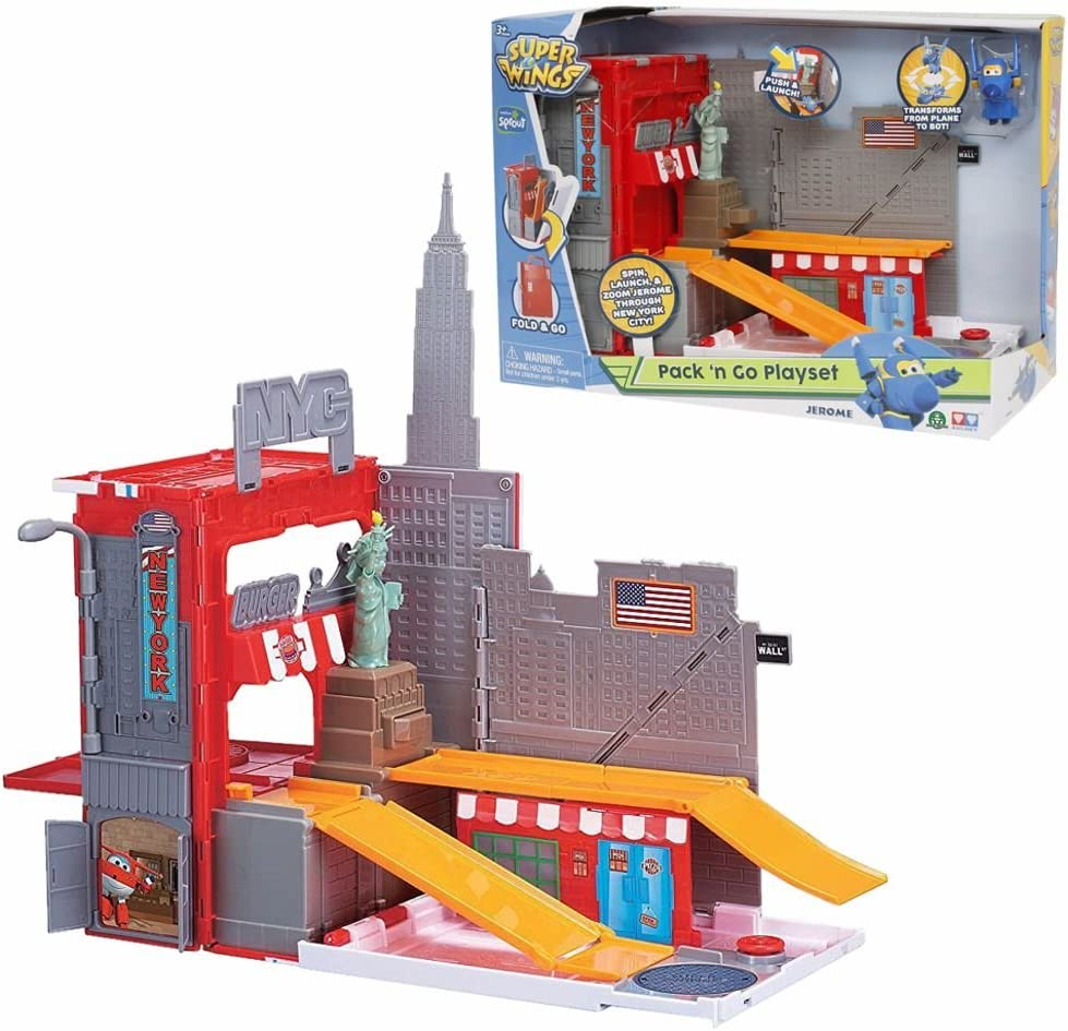 Amazon.es: Super Wings New York Stunt Pack ´n Go | Set de Juego Peón Jerome: Juguetes y juegos