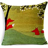 Decorative Animal Red Fox Thick Cotton Linen Throw Pillow Cover Car Cushion Pillowcase