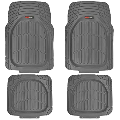 Motor Trend MT-921-GR FlexTough Tortoise - Heavy Duty Rubber Floor Mats for Car SUV Van & Truck - All Weather Protection - Deep Dish (Gray): Automotive