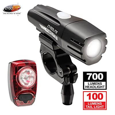 Cygolite Metro 700 Lumen Headlight and Hotshot 100 Lumen Tail Light USB Rechargeable Bike Light Combo Set
