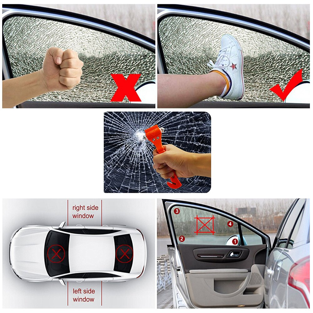 LOYMR 4 Pack Car Safety Hammer,with Car Window Glass Hammer Breaker and Safety Seat Belt Cutter 2-in-1 Emergency Escape Tool, Survival Kit by LOYMR (Image #6)