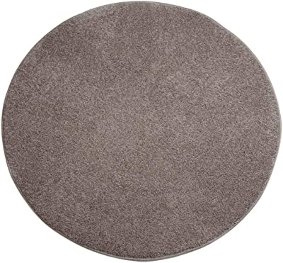 Solid Color Round Carpet Living Room Coffee Table Chair Simple Floor Mat Bedroom Carpet (Brown)