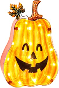 Halloween Pumpkin Lamp, Hanging Decorative Lamp, Fall Decor Pumpkin Lantern with Timer, Halloween Thanksgiving Decoration Light Up Party Decor Festival Gift Home Lantern,Battery Operated (10.5 inches)