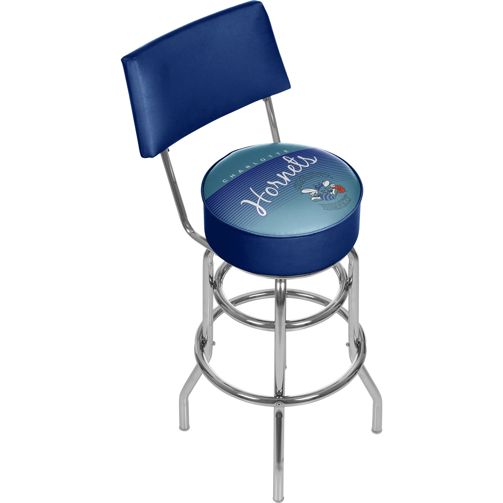 Trademark Global NBA Charlotte Hornets Hardwood Classics Bar Stool with Back, One Size, Chrome by Trademark Global