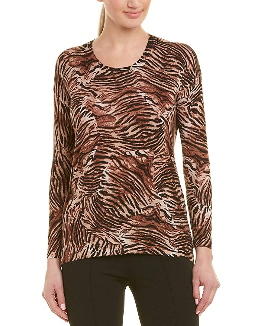 The Kooples Womens Tiger Print Silk-Blend Sweater M Beige