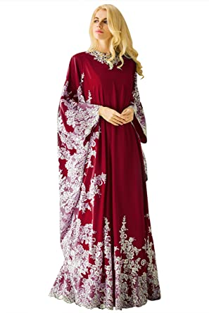 Huifany Womens Elegant O-Neck Long Sleeve Applique Beaded Muslim Formal Long Evening Dresses Burgundy