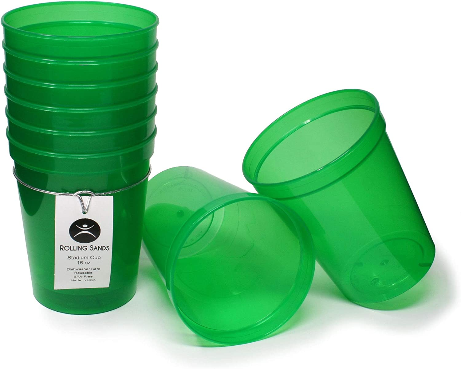 Rolling Sands 16 Ounce Reusable Plastic Stadium Cups Translucent Green, 8 Pack, Made in USA, BPA-Free Dishwasher Safe Plastic Tumblers
