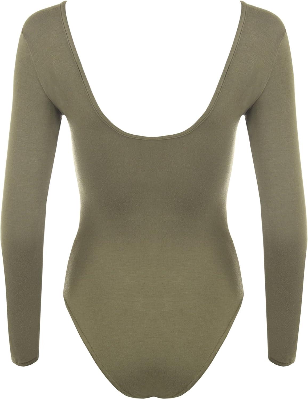 14 Farben Damen Body elastisch Langarm Bodysuit Top WearAll Gr/ö/ße 36-42