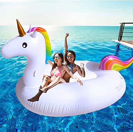 "TURNMEON Huge Inflatable Unicorn Pool Float Pool Floatie Summer Beach Float Swimming Pool Party Toys Lounge Raft Ride-on Water Pool Toys for 2-4 Multi Players Adults Kids Island(102""x 45""x 41"")"
