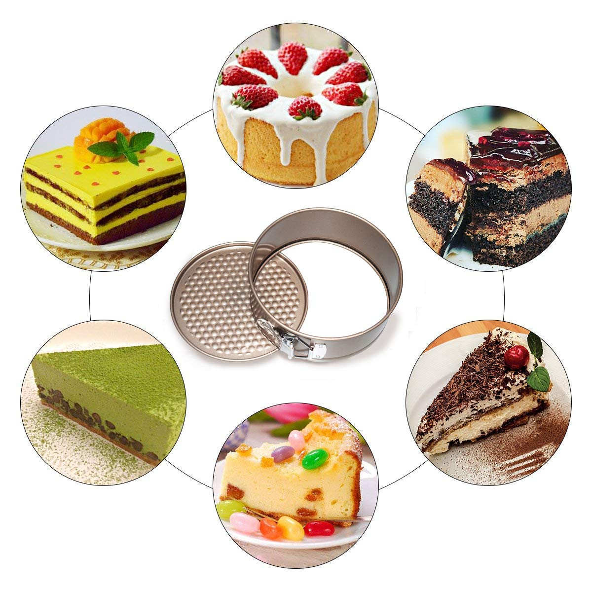 7 Inch BESYZY Circular Springform Interlocking Pan Non Stick Quick-Release Latch Leak-Proof Spring Form Round Cake Bakeware Tins Carbon Cake Pan Cheesecake pan with Removable Bottom 18 cm