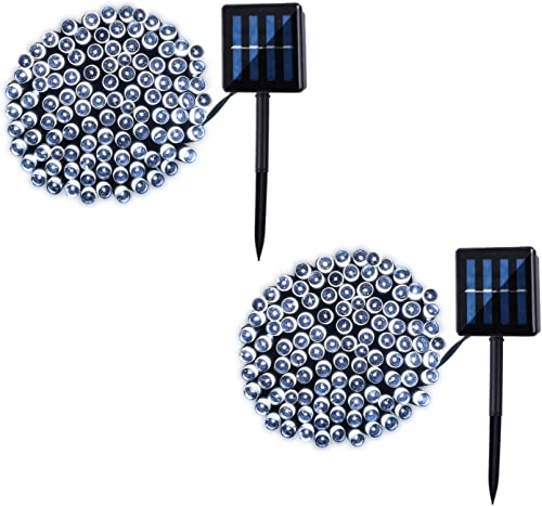 2 Pack 100 LED Solar String Lights 42ft 8 Modes Outdoor Waterproof Lights for Garden, Tree, Yard, Christmas, Wedding, Party White