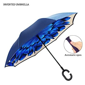 Premium doble capa paraguas invertido para coche por ambrellaok Reverse plegable boca abajo en forma manos