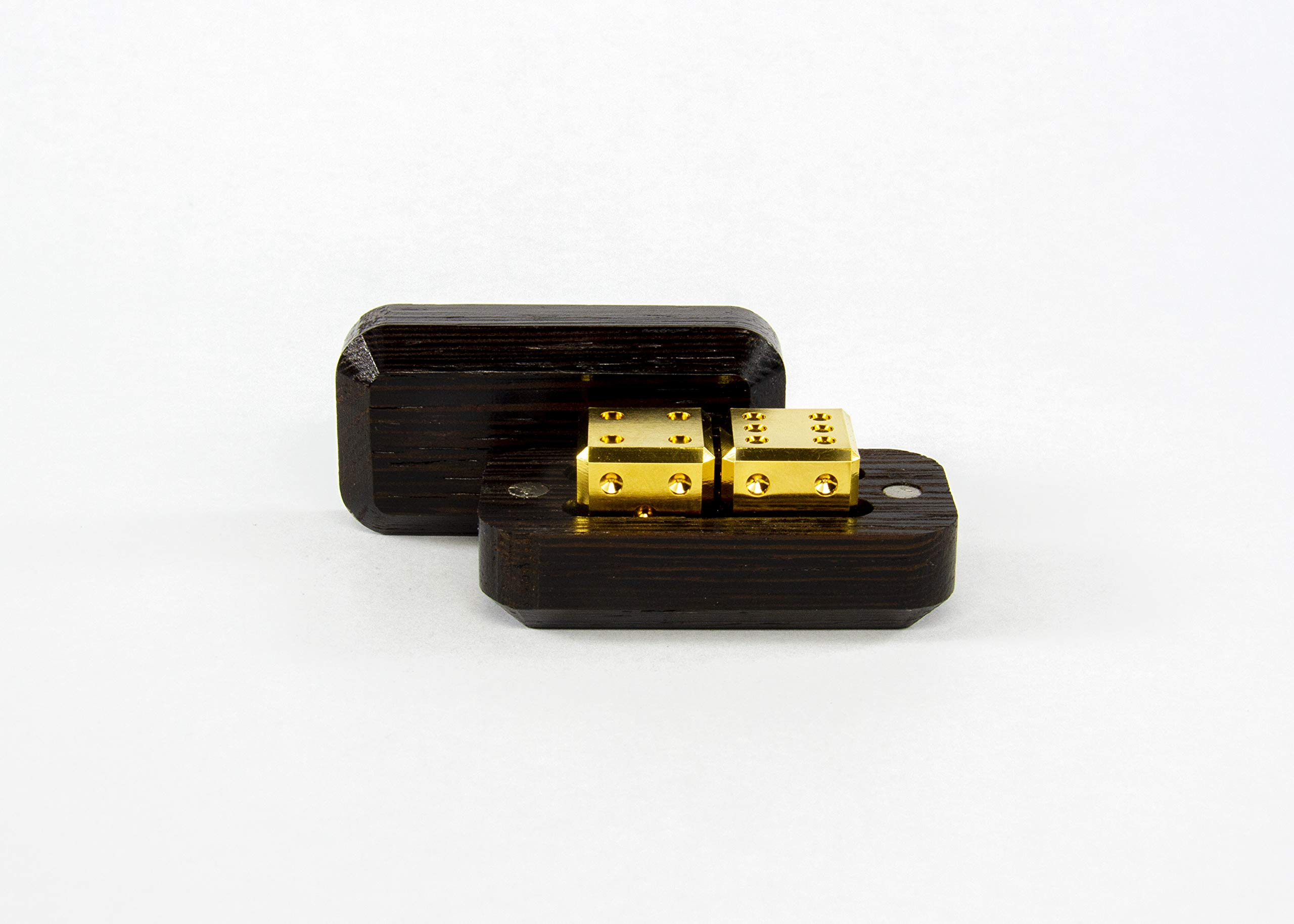 Gravity Dice Metal 2 Dice 14K Gold Set with Wenge Wood Case