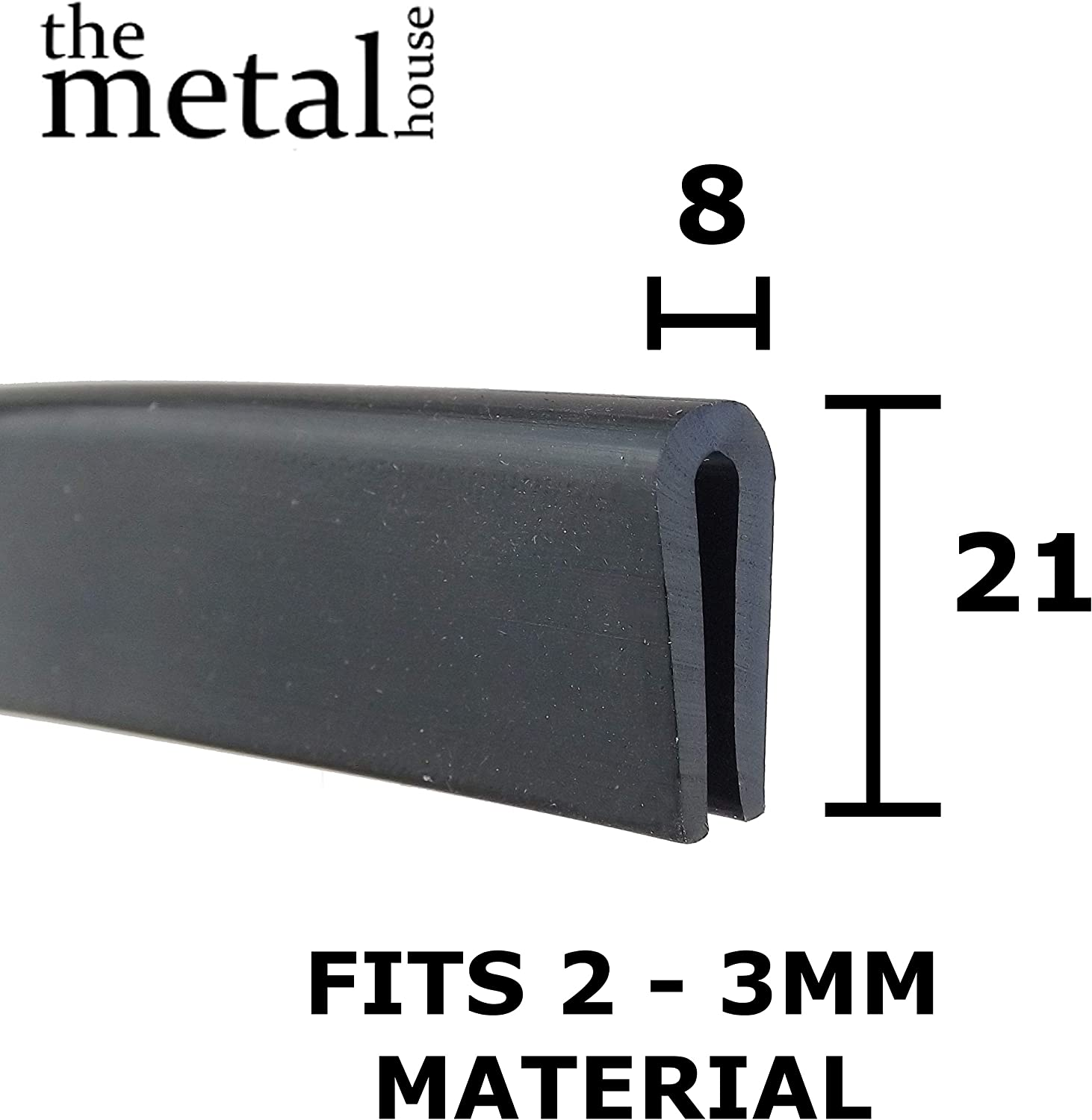 Rubber U Channel Extrusion Edging Trim Seal 15mm x 7.5mm