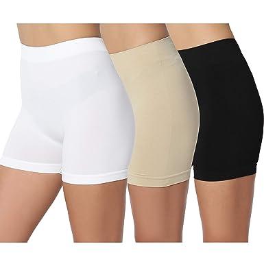 522a25441c5f TheMogan Junior's Basic Seamless Stretch Bike Shorts Short Leggings  Khaki/Black/White