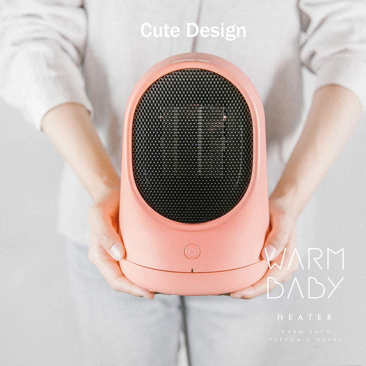 XPRIT Desktop Space Heater Cute Design Ceramic Heater w Auto Oscillating Pink