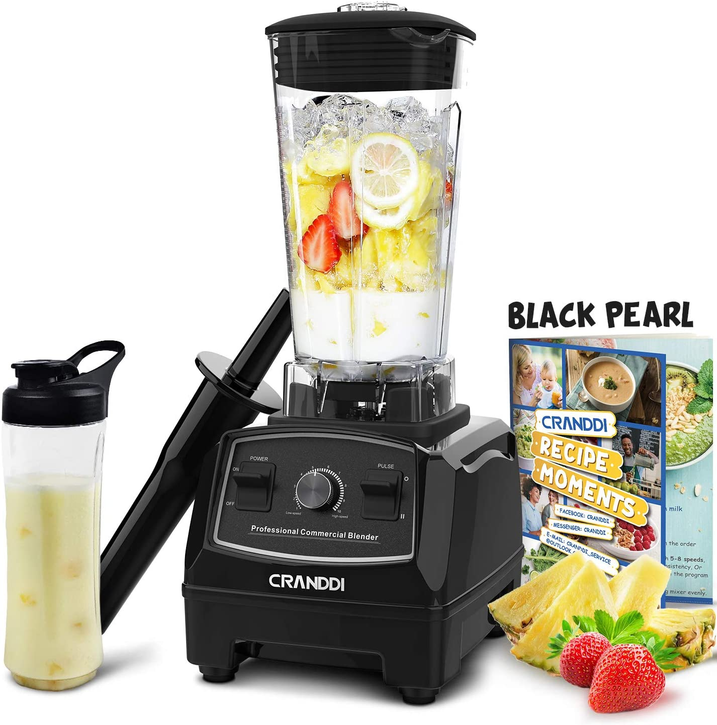 CRANDDI Countertop Blender, with 1500W Base, Professional High-Speed Smoothie Blender with 70oz Pitcher for Family Size Frozen Drinks and Smoothies, Built-in Pulse & 9-speeds Control, Easy Self-Cleaning, YL-010-B
