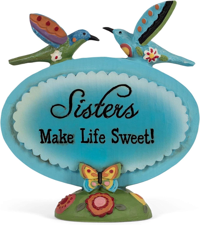 Blossom Bucket Sisters Make Life Sweet Blue Hummingbirds Resin Stone Figurine Decor