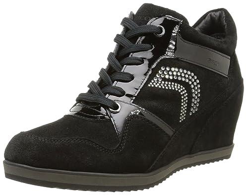 Geox D Illusion A, Sneakers da Donna, Nero (c9999/scam/vern