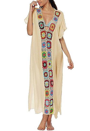 b3c540d83b35 ALAPUSA Women s Summer Embroidered Turkish Kaftans Beachwear Bikini Cover  Up Dress Apricot One Size
