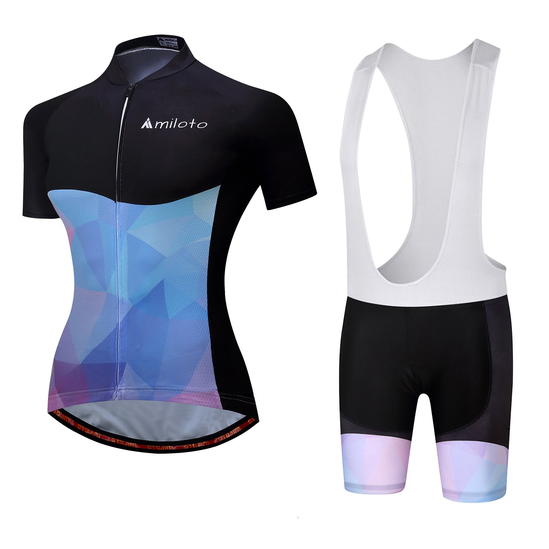MILOTO Damen Radtrikot Kurzarm Trikots Radfahren Weiß Latzhose Shorts Anzüge Additex
