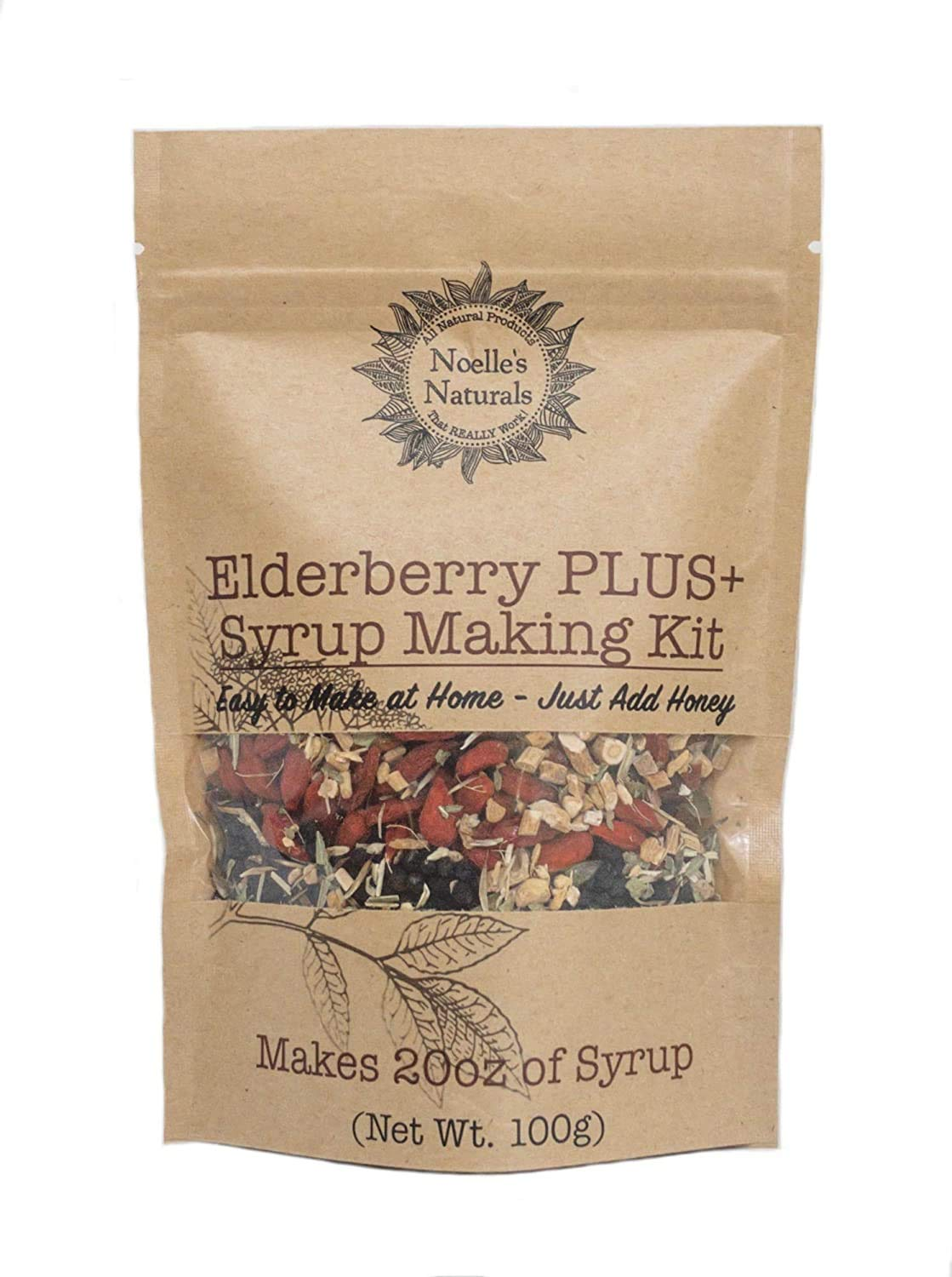 B079SZ9N7Z Noelle's Naturals Organic Elderberry Syrup Making Kit - Makes 20oz of syrup, Our Concentrated Recipe is Easy to make, PLUS Goji, Echinacea, Astragalus, Rose hips, Ginger, Cloves & Cinnamon 71E5TcQI3uL