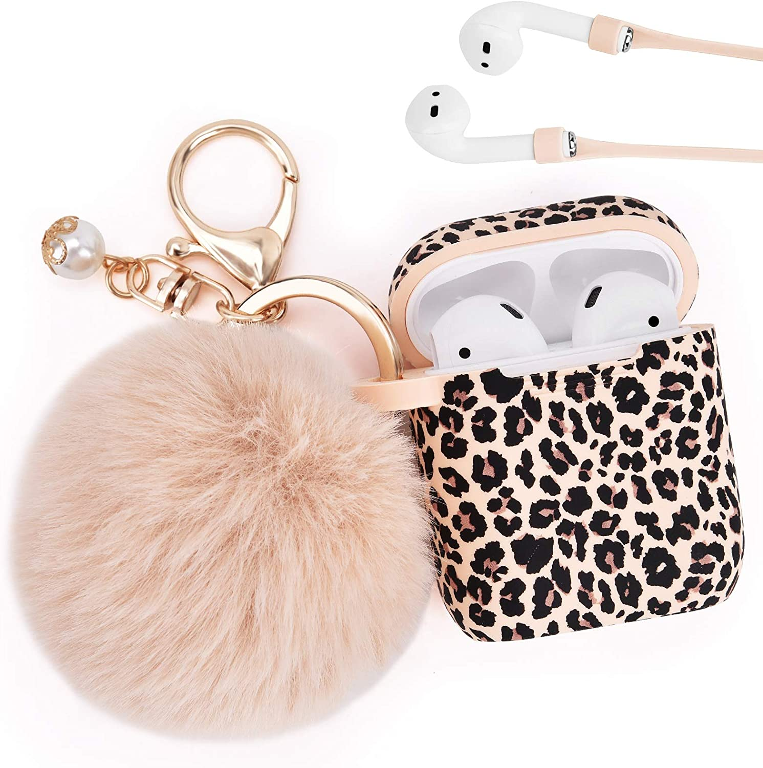Airpod Case AIRSPO Airpods Case Cover for Apple AirPods 2&1 Silicone Protective Skin Cute Airpod Case for Girls with Pom Pom Fur Ball Keychain/Strap/Accessories (Leopard Print+Fur Ball)