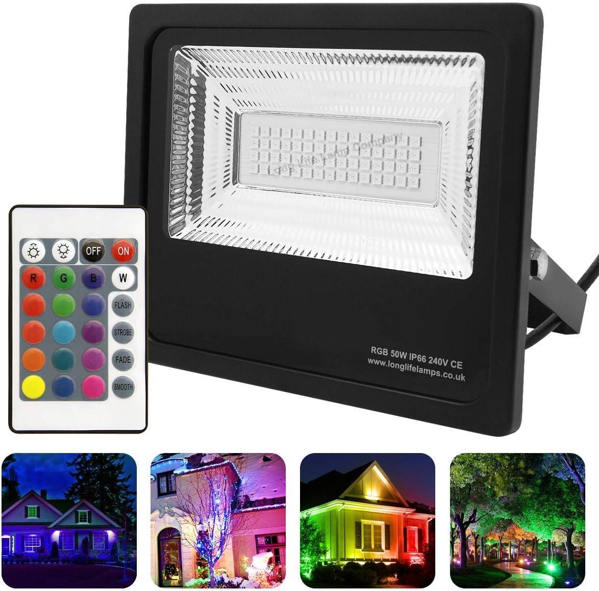 Rgb LED Extérieur lampe variateur Maison Mur Lampe changement de couleur projecteur télécommande