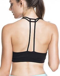 9e6555fff8c89 OVESPORT Women Sports Bras Workout Strappy Light Support Padded Cross Back  Active Sports Yoga Running Bra