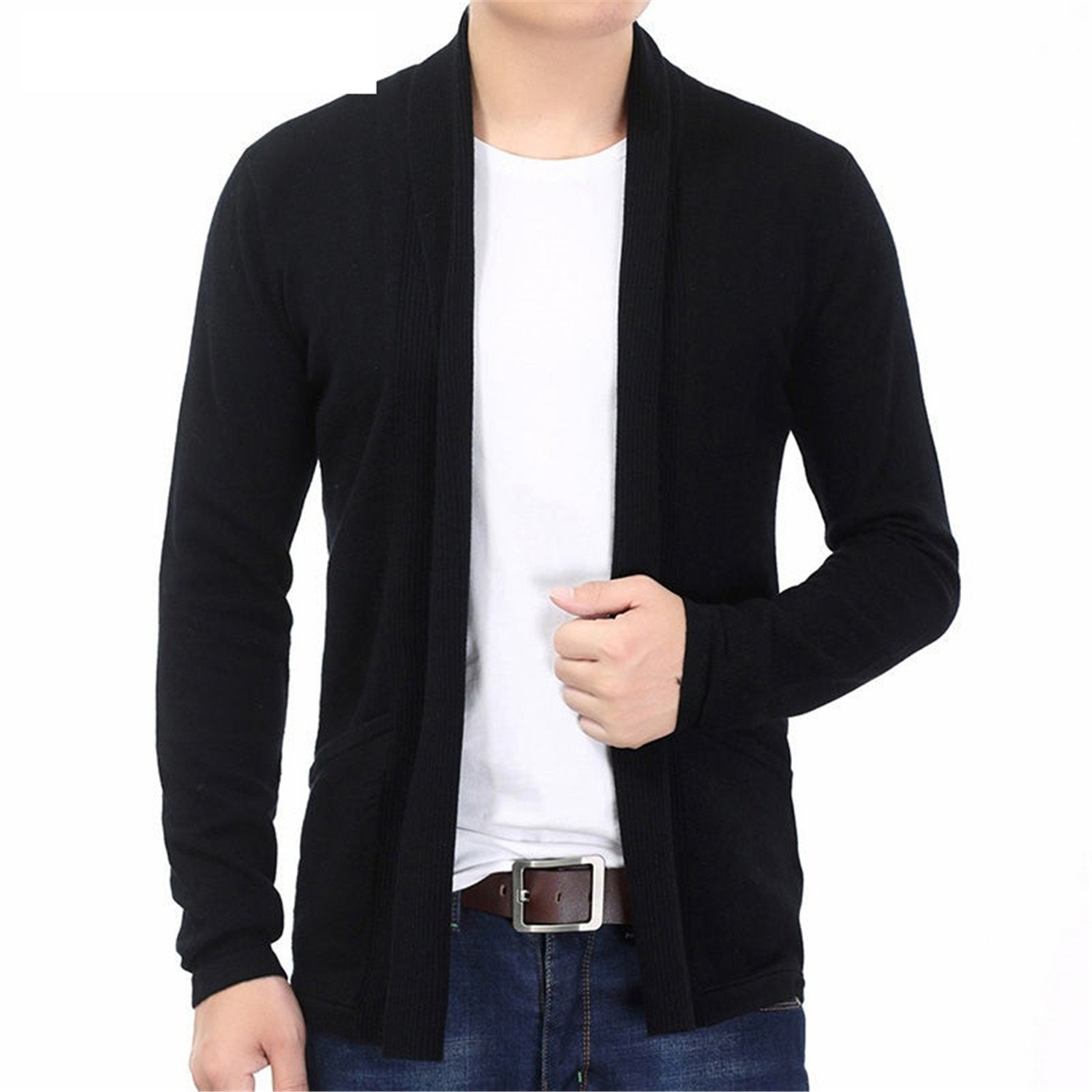 Also Easy Cardigan Winter Thick Warm Cashmere Wool Sweater Men Fashion Long Mens Cardigans Sweater Coats 7320 Black S